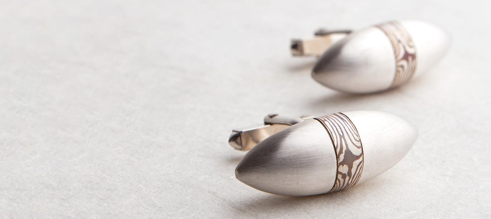 Manschettenknöpfe. 925 Silber mit Kupfer. Mokume Gane-Herrenschmuck.