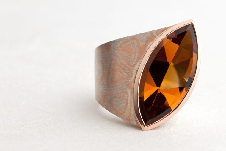 Mokumegane Ring. Citrin, Rotgold und 925 Silber. Unikat.