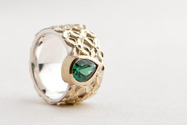 Turmalin Ring. 750 Gelbgold, 925 Silber. Unikat.