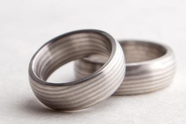 Trauringe. 950 Palladium und 925 Silber, Mokume Gane.