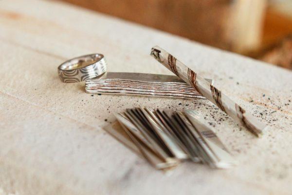 Palladium Silber, Mokume Gane Material, vom Blech zum Ring.